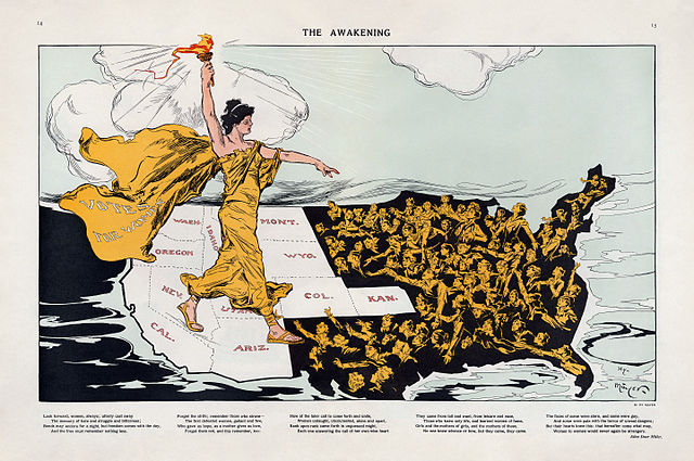 political cartoon showing how suffrage was first granted to Western states