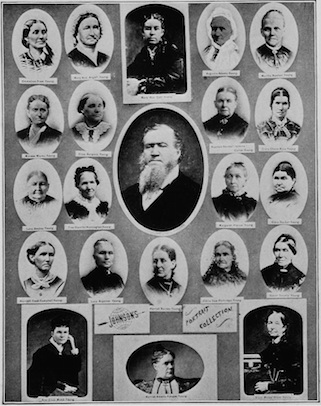 Brigham Young with 21 of his wives