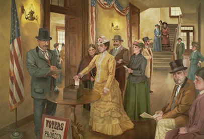 mural of Seraph Young voting (first woman in Utah and U.S. to vote) in a local election