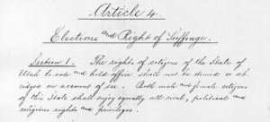 Copy of the original handwritten page of the Utah state constitution including the suffrage clause