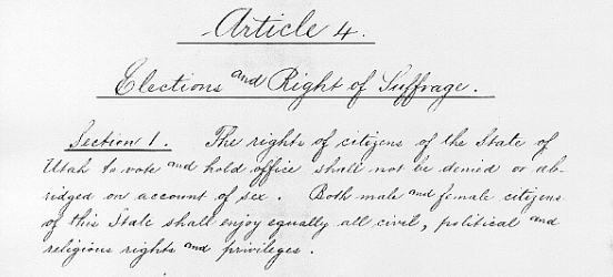 Article 4, Section 1 from the Utah State Constitution, Elections and Right of Suffrage