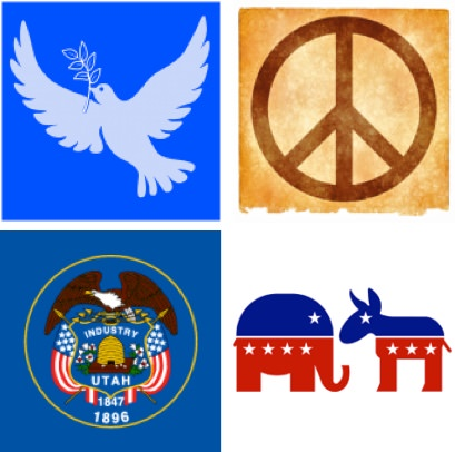 dove, peace sign, Utah state seal, elephant for Republicans/donkey for Democrats