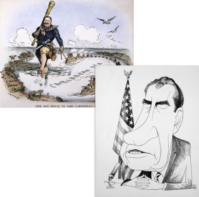 political cartoons showing large facial features of U.S. presidents Teddy Roosevelt and Richard Nixon