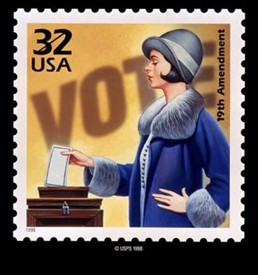 postage stamp showing a woman voting