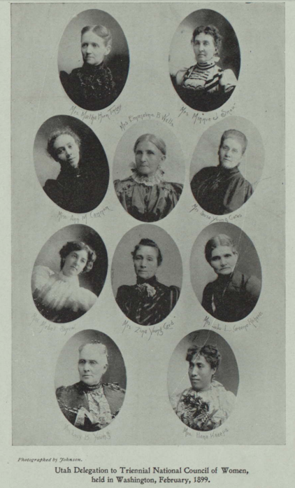A grouping of individual black and white headshots of 10 of Utah's most influential women, and Hannah Kaaepa is in the bottom right corner of the page.