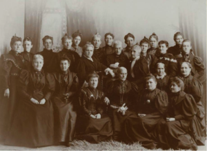 Black and white photo of the leaders of National Women's Suffrage organization.