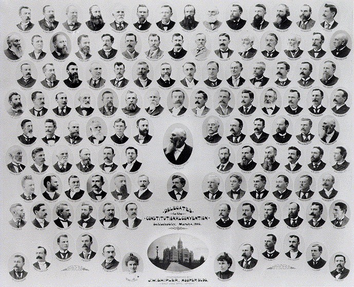 Black and white headshots of all the delegates at Utah's Constitutional Convention.
