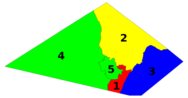 map of five regions or districts