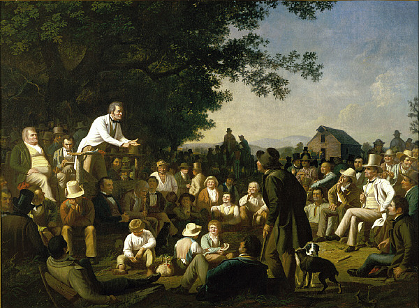 painting of a candidate making a speech