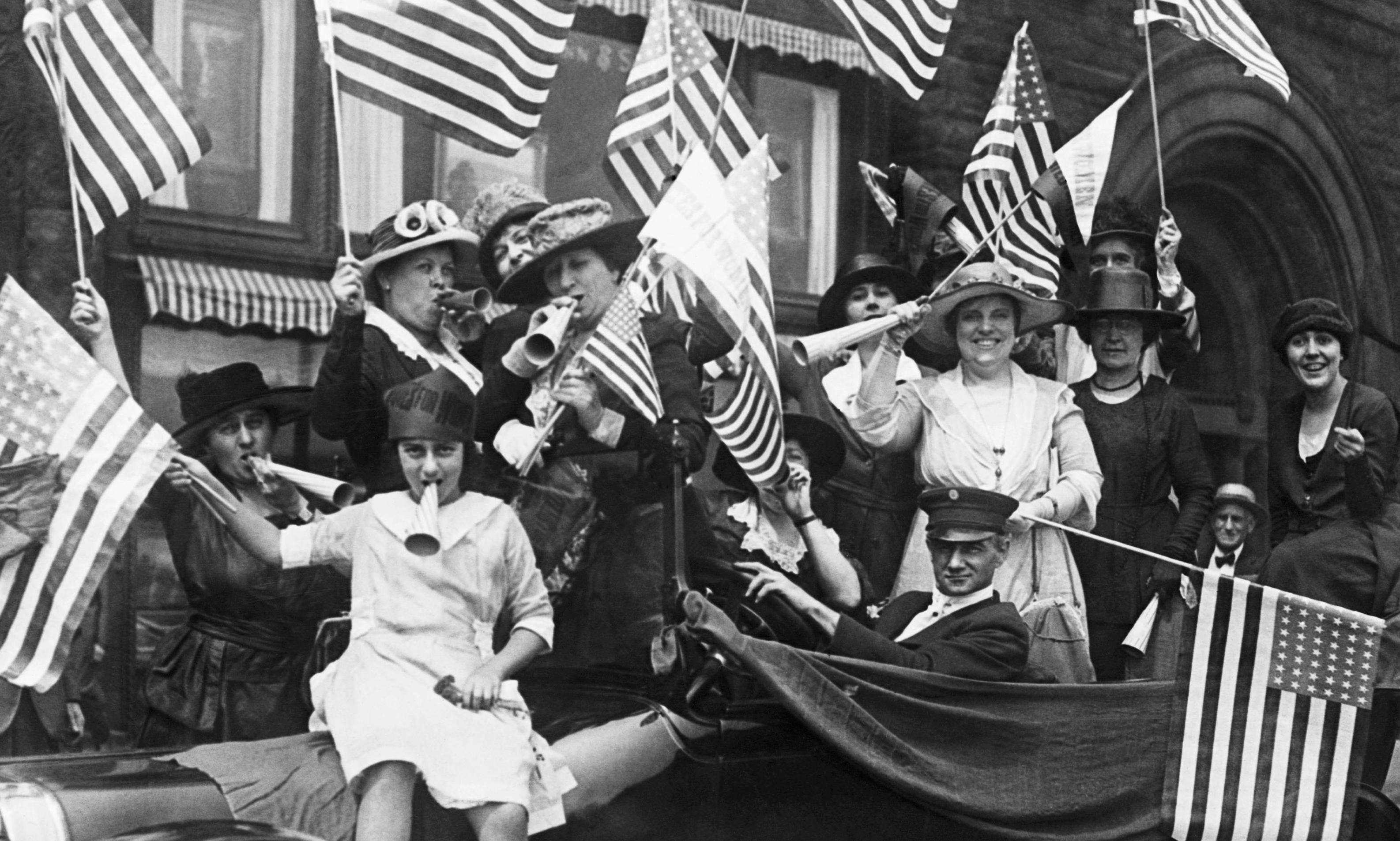women celebrating the ratification of the 19th Amendment