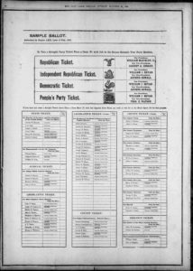 Copy of a sample ballot, published just before to the 1896 election
