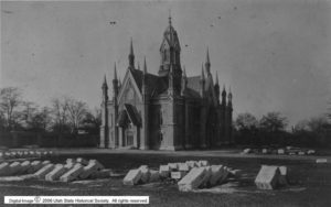 Photograph of a building with gothic spires.