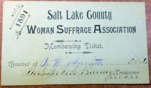Copy of the Salt Lake County Woman Suffrage Association membership ticket
