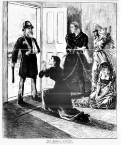 Political cartoon depicting Uncle Sam as a police officer entering the home of a man with holding the chains of three women who appear to be in distress.