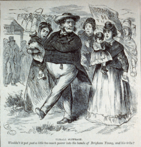"Cartoon depiction of Brigham Young leading a group of shocked women in a march under the banner, ""Straight Dem Ticket!""."