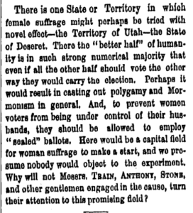 Newspaper clipping indicating that Utah's women outnumber Utah's men.
