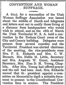 "Newspaper clipping entitled, ""Convention and Woman Suffrage""."
