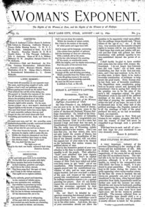 Woman's Exponent article wherein Susan B. Anthony wrote an open letter to the suffragists in Utah.