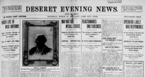 Deseret Evening News article outlining the details for a memorial service held shortly after Susan B Anthony's death