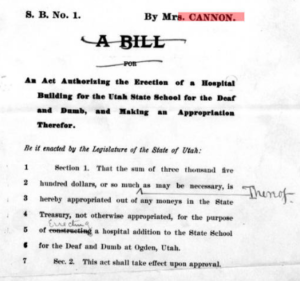 A copy of a bill drafted by Martha Hughes Cannon to advocate for the disabled.