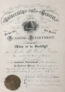 Copy of one of four of Martha Hughes Cannon's academic awards and certificates.