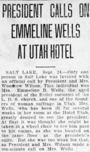 "Newspaper article entitled, ""President Calls on Emmeline Wells at Utah Hotel"""