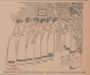 Political cartoon depicting a line of women, each representing western states, waiting in line for the suffrage bill to pass in their states.