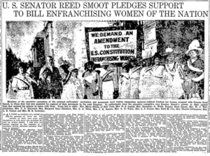 "Newspaper headline reading, ""U.S. Senator Smoot Pledges Support to Bill Enfranchising Women of the Nation""."