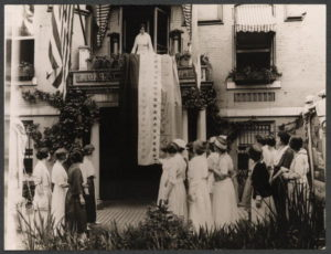 When Tennessee the 36th state ratified, Aug 18, 1920, Alice Paul, National Chairman of the National Woman's Party, unfurled the ratification banner from Suffrage headquarters.