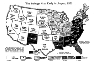 Map indicating the type of suffrage permitted in the states in early August, 1920