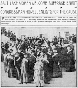 Black and white image of Salt Lake women marching for suffrage along with Congressman Howell