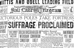 "Salt Lake Telegram newspaper headline stating, ""Suffrage Proclaimed""."