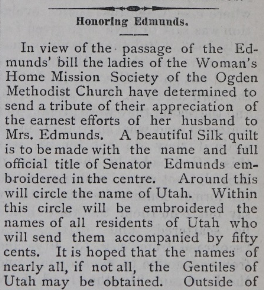 Newspaper clipping from the Woman's Home Mission Society of the Ogden Methodist Church praising the Edmunds Bill.
