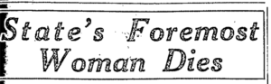 Newspaper headline indicating that Emmeline B. Wells has died.