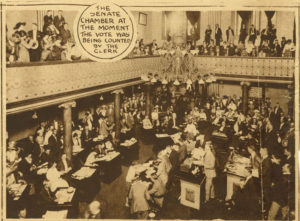 Photograph of the Tennessee Senate just after voting to ratify the 19th Amendment.