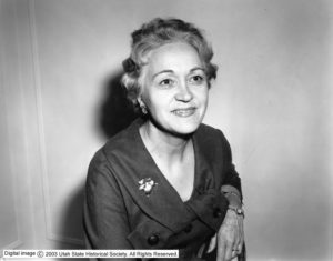 Black and white image of Ivy in her older years.