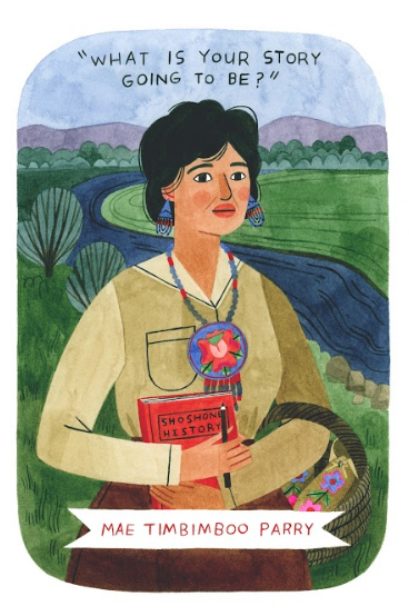 A Native American woman standing in front of the Bear River, holding a book entitled Shoshone History and a basket with mocassins