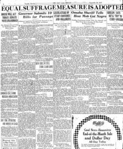 "Salt Lake Herald headline stating, ""Equal Suffrage Measure is Adopted""."