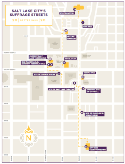 map of the Salt Lake City Suffrage Streets tour