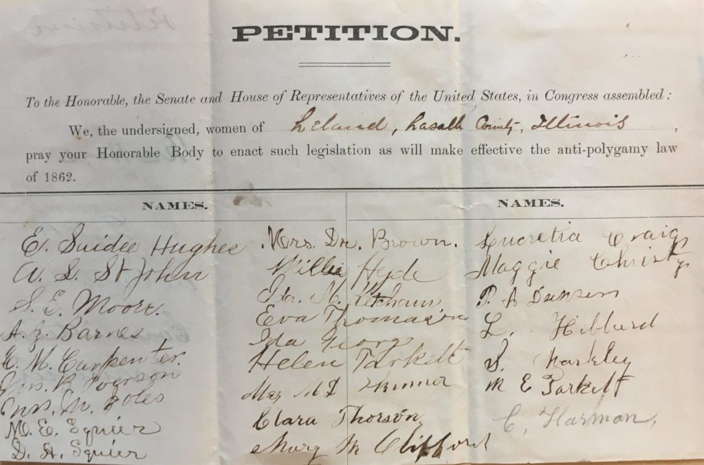 Petition with several signatures of women.