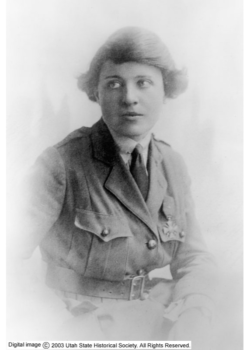Maud May Fitch wearing her French Cross medal.