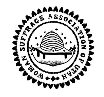 Woman Suffrage Association of Utah stamp emblem with a beehive in center