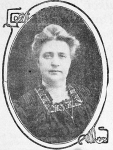 Mary Willis Critchlow photo in a newspaper, inside an oval frame