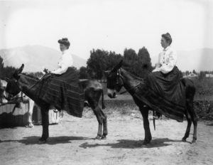Two women seated sidesaddle on burros.