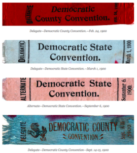 Photos of delegate ribbons.