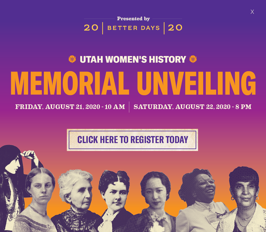 Sign up at this link to celebrate the 19th Amendment centennial with a free outdoor, social distanced, limited entry open house featuring the new women's history memorial on the grounds of Council Hall, the site of Utah women's first votes in 1870.