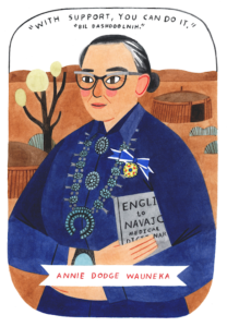 Illustration of Annie Dodge Wauneka holding a dictionary.