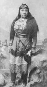 Photograph of Sarah Winnemucca in traditional dress.