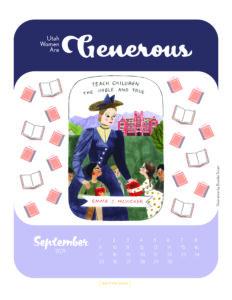Utah women are Generous - September calendar with illustration of Emma McVicker